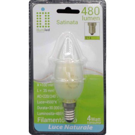 OLIVA FILAMENTO - C35 - 4W - SATINATA - E14 - LUCE NATURALE - 4500K