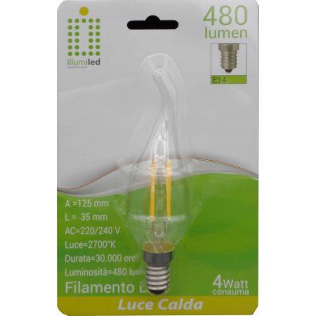 FIAMMA FILAMENTO - C35 - 4W - TRASPARENTE - E14 - LUCE CALDA - 2700K