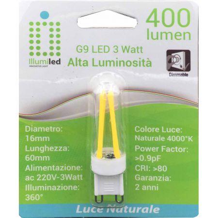 LAMPADINA FILAMENTO LED- G9 - VETRO -3W-LUCE NATURALE - 220 V - 390 LM