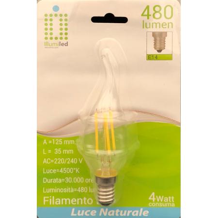 FIAMMA FILAMENTO - C35 - 4W - TRASPARENTE - E14 - LUCE NATURALE - 4500K