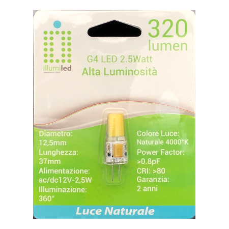 LAMPADINA LED G4 - SILICONE - 2,5W - LUCE NATURALE- AC/DC10-20 V-320 LM